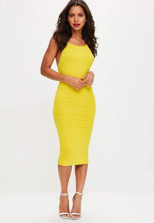 d509fc753909 Yellow Low Back 90s Neck Bodycon Midi …   All Fashion   Women's ...