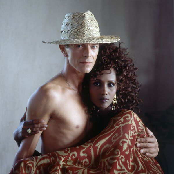 """David Bowie's Caribbean Getaway  """"I think Mustique is Duchampian—it will always provide an endless source of delight,"""" says David Bowie, with his new wife, actress Iman."""
