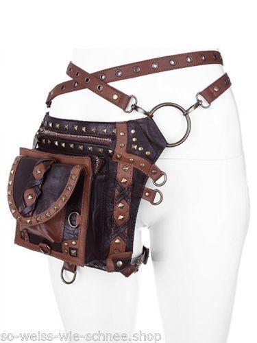 Restyle-SET-Holster-Guertel-Bein-Tasche-Steampunk-Gothic-Pocket-Leg-Belt-LARP-WGT