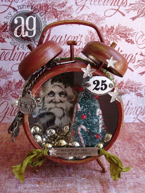 "** ""Believe In The Magic"" Altered Christmas Clock   @lindaledbetter"