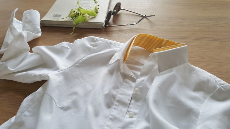 Yellow is for summer. Shirt collar detail.