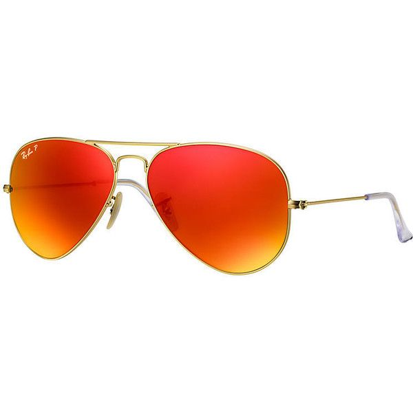 Ray-Ban Aviator Gold Sunglasses, Polarized Orange Flash Lenses -... (301 300 LBP) ❤ liked on Polyvore featuring accessories, eyewear, sunglasses, gold, mirror lens aviators, mirror aviator sunglasses, gold sunglasses, gold aviator sunglasses and mirrored sunglasses