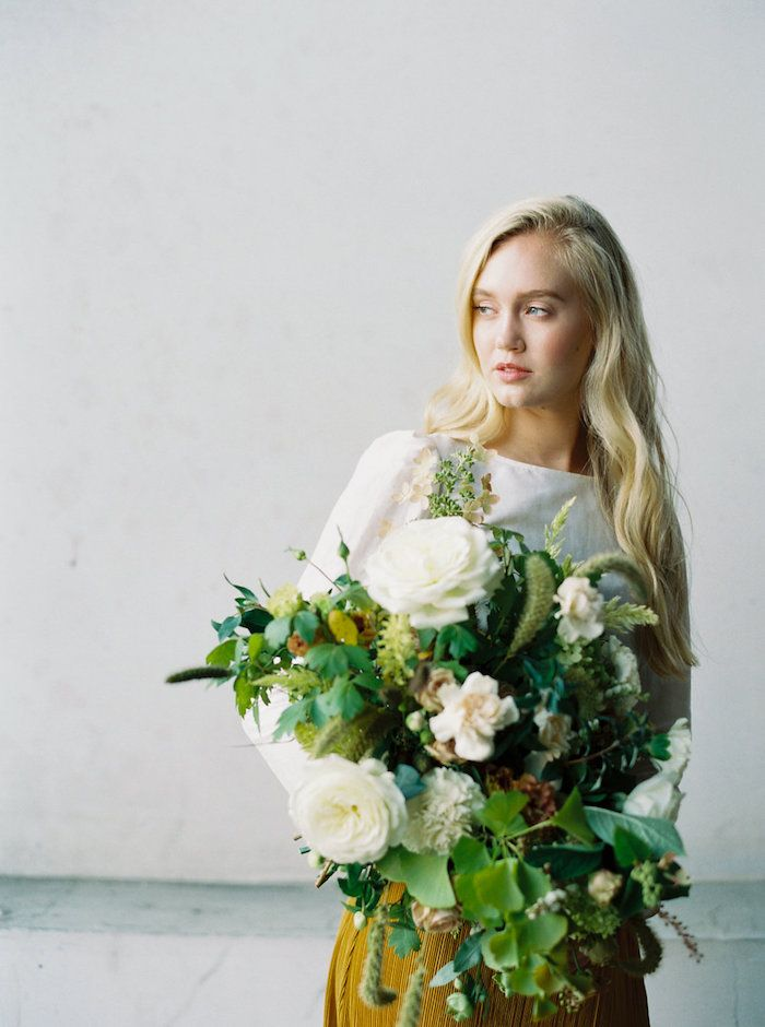 cream, white and green modern bridal bouquet