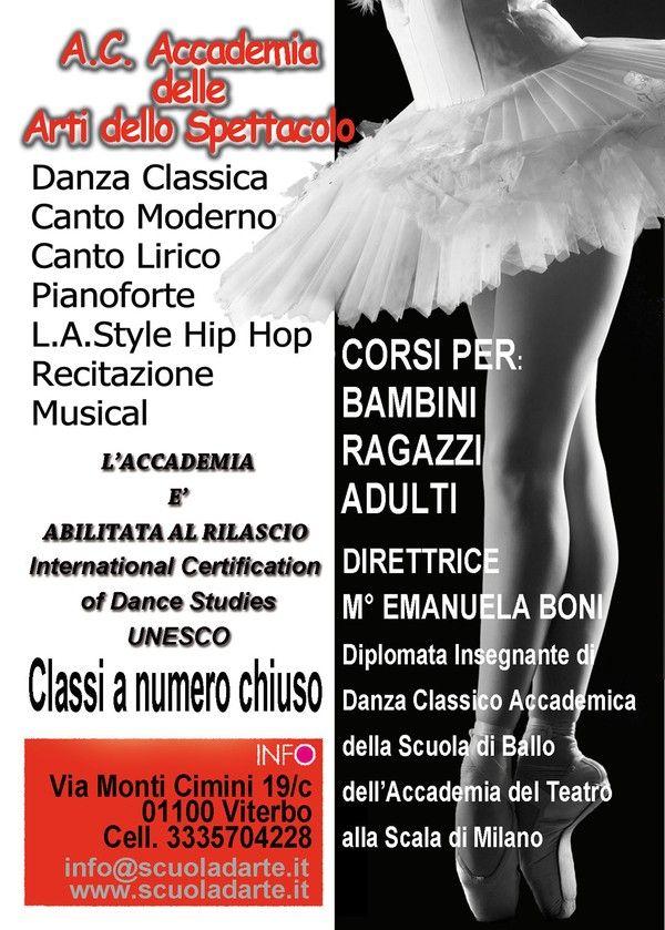 Danza Viterbo Accademia delle Arti dello Spettacolo: sono aperte le selezioni per l'accesso ai corsi per il prossimo Anno Accademico 2015 2016