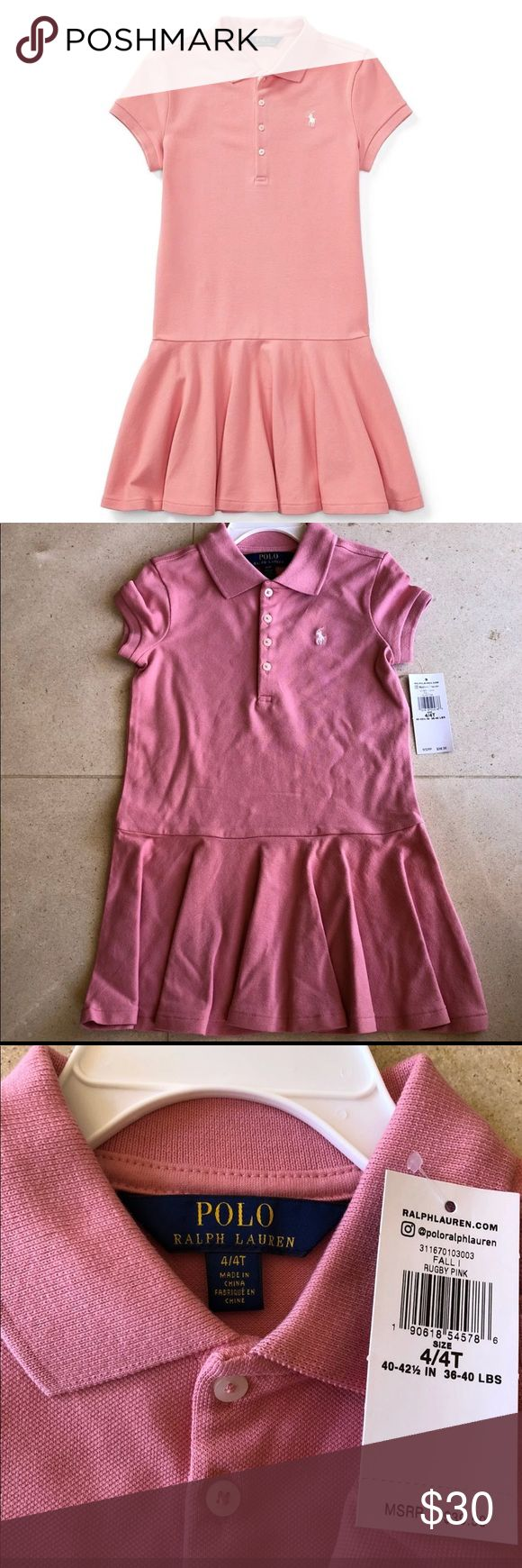 Polo Ralph Lauren Girl's Mesh Polo Dress 4/4T Polo Ralph Lauren Girl's Mesh Short-Sleeve Polo Dress, in rugby pink, 4/4T ❤️  NOT from factory outlet store. It's from Nordstrom!  Brand new. so cute!  Made from stretch cotton and with a full skirt, this version of the Polo Ralph Lauren dress is comfortable enough for every day and polished enough for picnics or parties.  Cotton / elastane Polo collar Four button placket Short sleeves Ruffled skirt Machine washable Imported * hanger not…