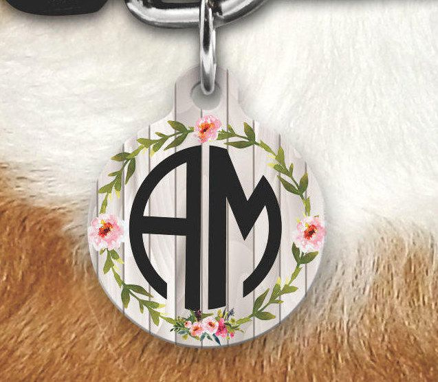 Monogram Pet Tag, Girly Pet Tag, Custom dog Tag, dog Tags For Dogs, Double Sided Pet Tag, Floral Pet Tag, Floral Wood Pet Tag, Faux Wood Tag by MysticCustomDesignCo on Etsy