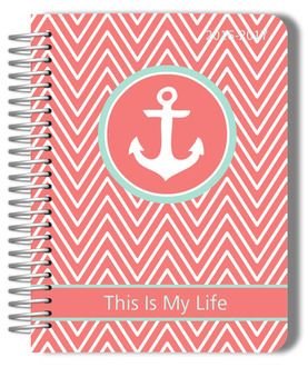 Coral and Mint Chevron Anchor Planner-soft #PurpleTrail