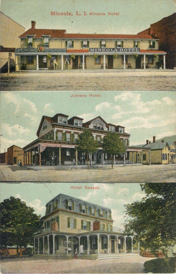 A View Of Three Mineola Hotels Long Island New York Ny 1910