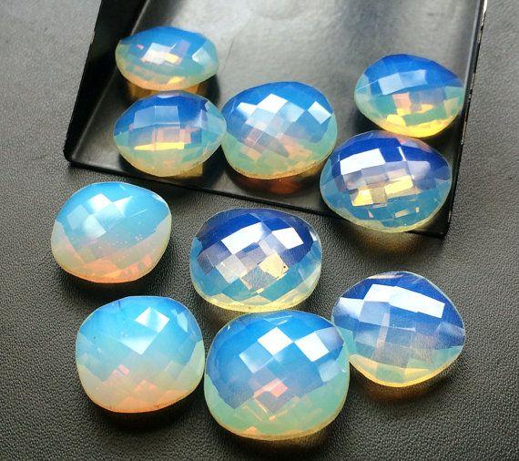 5 Pcs Fire Opalite Stones Opalite Cushion Cut by gemsforjewels