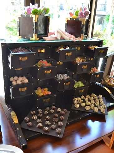 The drawers of dessert at brunch at Cut Catch Cucina and the Sofitel Bali Nusa Dua