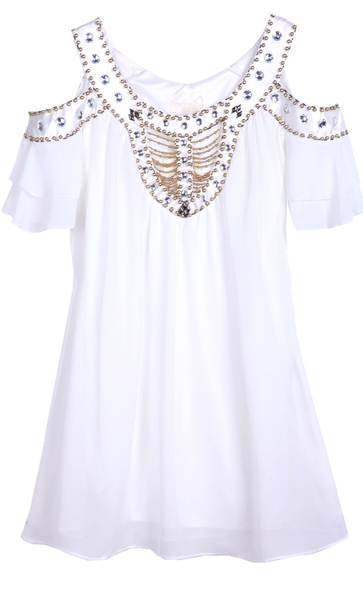 White Off the Shoulder Bead Rhinestone Chiffon Dress - Sheinside.com