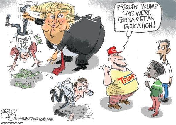 Pat Bagley - Salt Lake Tribune - Trump University - English - Trump, fraud, con, Trump U, Trump University, University, Trial, Settlement, 25 million, settled, cheat, lie, Donald Trump, defraud, liar, President elect