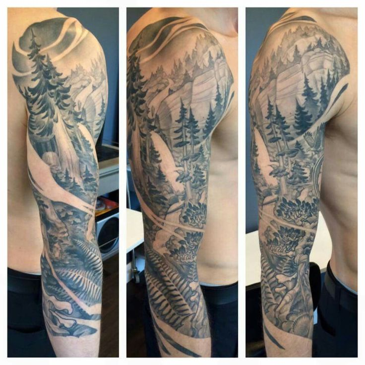 west coast trees sleeve by teems black label tattoos mountain tattoo pinterest tree. Black Bedroom Furniture Sets. Home Design Ideas