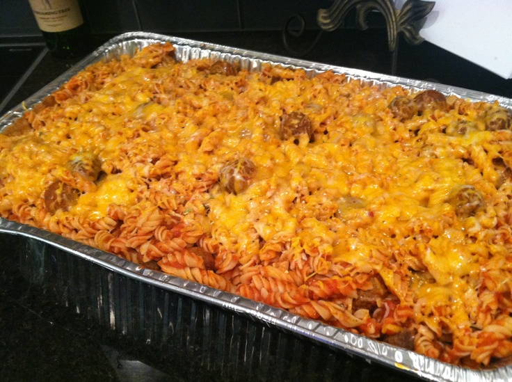 Meal- large casserole for 25-30 teens - under $25.00. 4 boxes hyvee rotini, 4 cans hunt's sauce, 1 large bag Farm rich meatballs, top with 1 bag cheese. 2 loaves Rotella bread, and garlic butter.