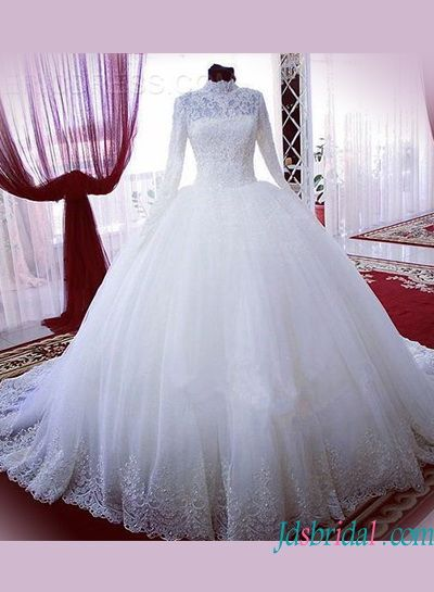 H1331 Modest high neck long sleeves lace ball gown wedding dress