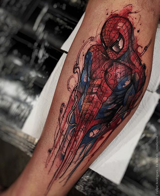 Insane spiderman tattoo by the brilliant @rodferod. This guy has style for days!! Shared by @shatter_the_skies