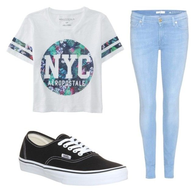 """""""How to wear vans"""" by jillian-mulvihill on Polyvore featuring 7 For All Mankind, Vans, Aéropostale, women's clothing, women's fashion, women, female, woman, misses and juniors"""