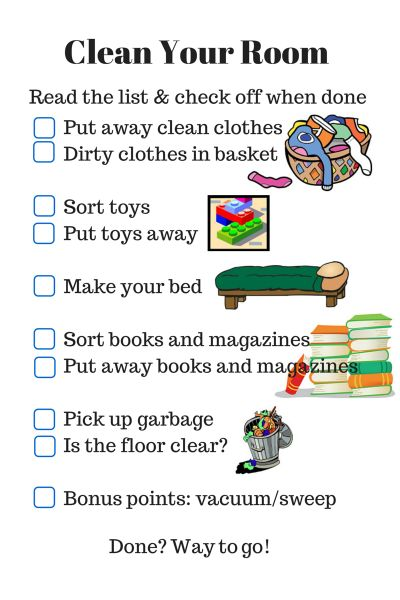 43 best chore charts images on pinterest cleaning homes and for kids How do you clean your bedroom