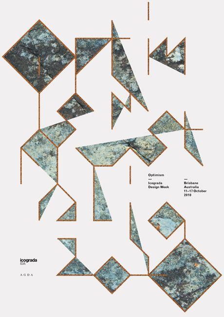 Optimism Australia Icograda by Mark Gowing: Graphic Design, Design Graphic Image Poster, Graphicdesign, Collages Graphics, Design Posters