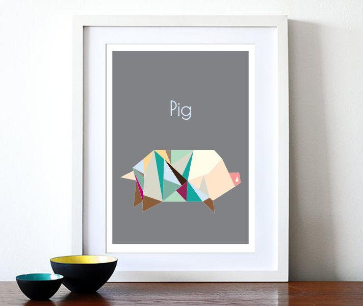 Nunu Prints - Pig Origami