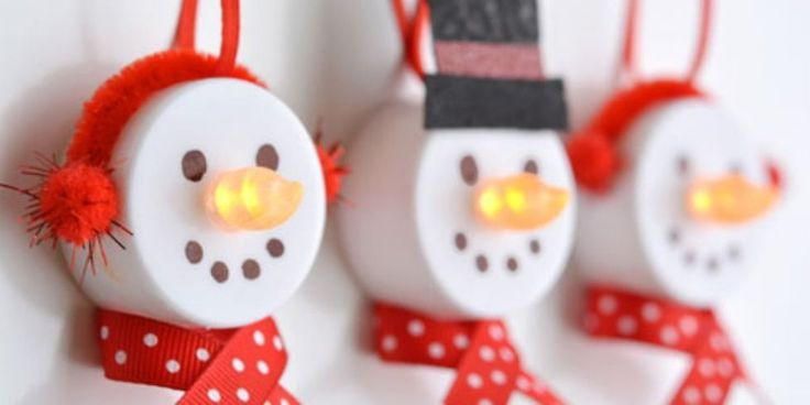 Turn Dollar Store Tea Lights Into The Cutest Snowman Ornaments  - CountryLiving.com