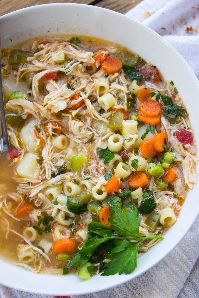 Sicilian Chicken Soup - All from scratch with tender chunks of veggies, ditalini pasta, and shredded chicken. Copy cat of Carrabba's chicken soup.