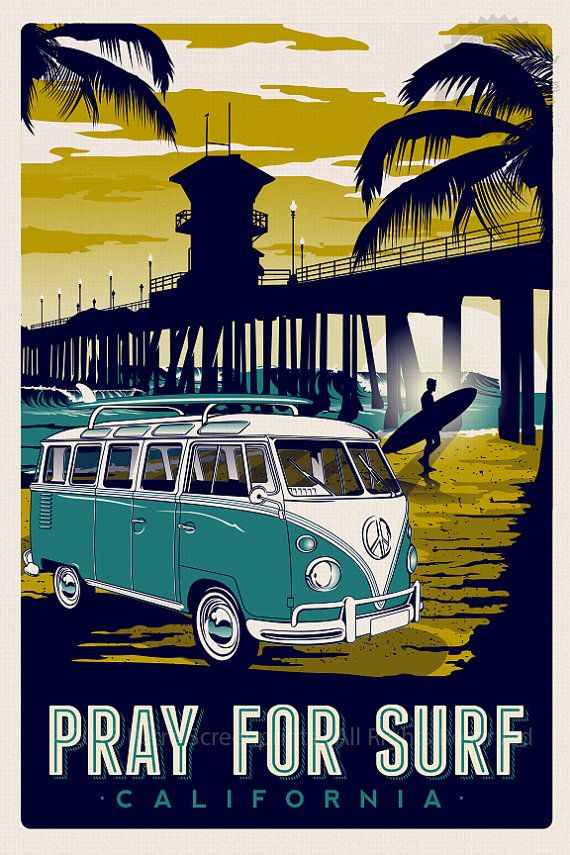 Pray for surf california vintage retro surf poster