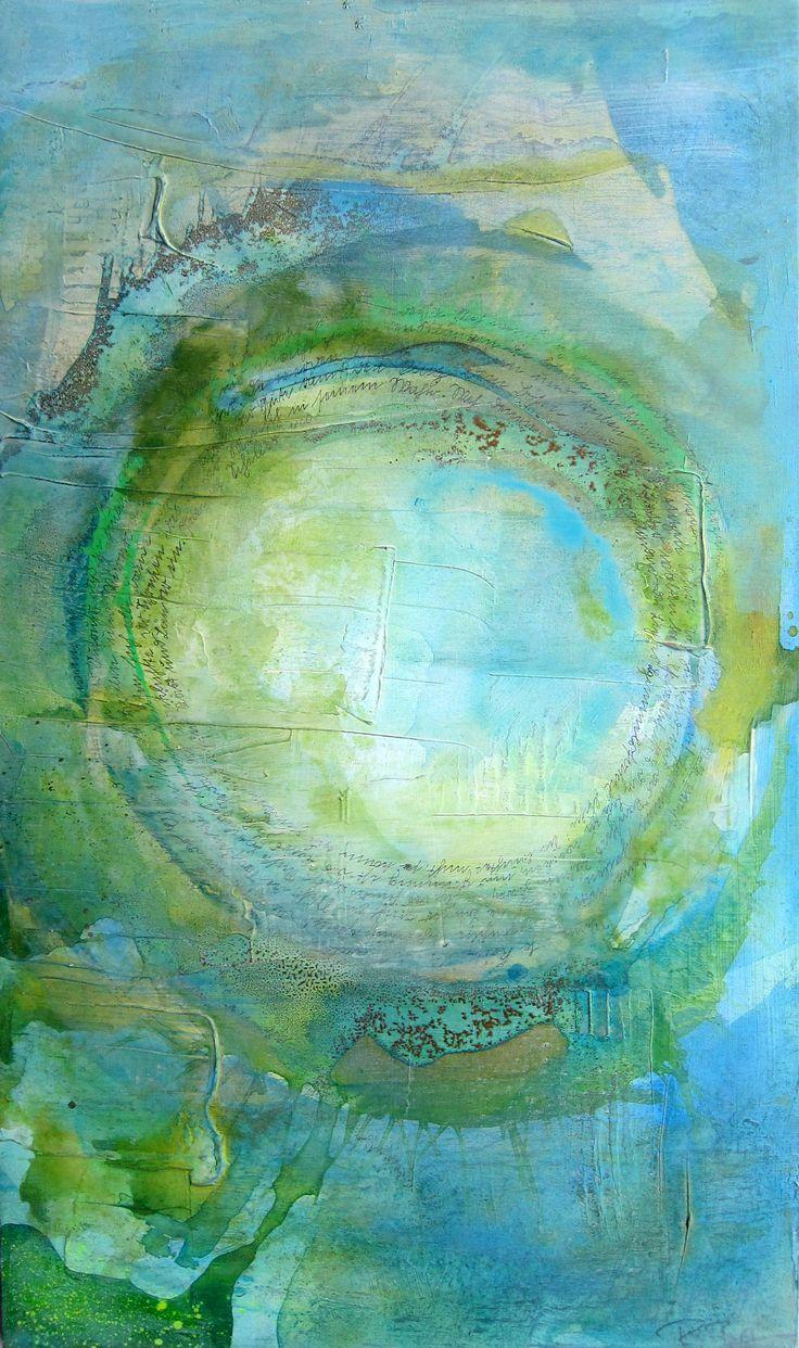 Mandala grünblau, Acryl gegossen, Gold auf Holz, alte deutsche Schrift, Schiller, die Glocke