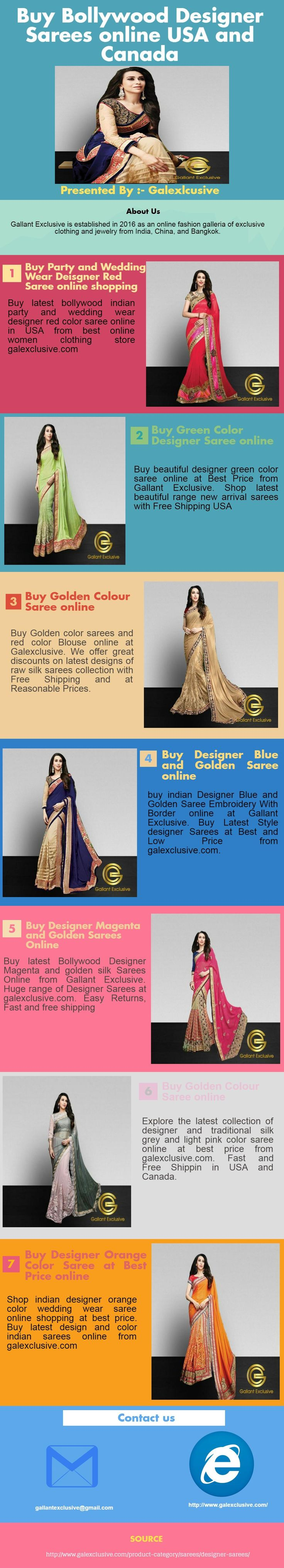 Shop online for designer Indian sarees online at Galexclusive. We have awesome designer sarees, Indian party wear & wedding wear sarees online Shopping at best prices USA and Canada. Know More Details Click Here designer sarees online