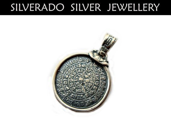 Ancient Greek Phaistos Disc 20 mm Pendant by SilveradoJewellery, €24.00