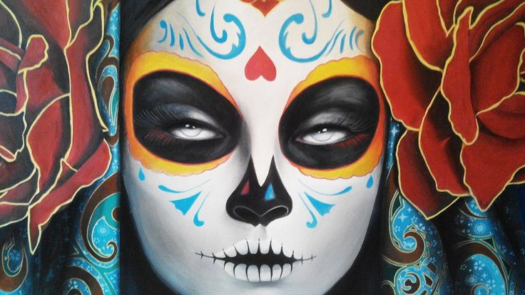 Day of the dead, sugar Skull, Roses acrylic paint 1.30x1.30