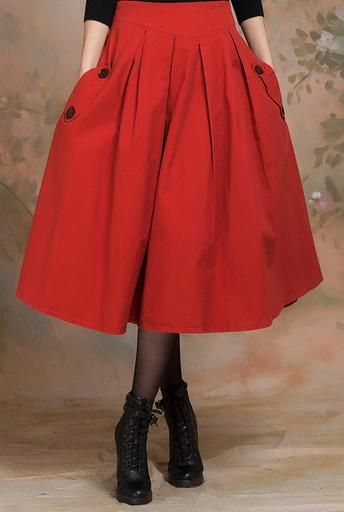 Vintage red color pleated skirt - Hichinashopping.com can help you to buy the apparel,shoes,bags,accessories,home decor,electronics items...... on china online shopping website and ship to you!