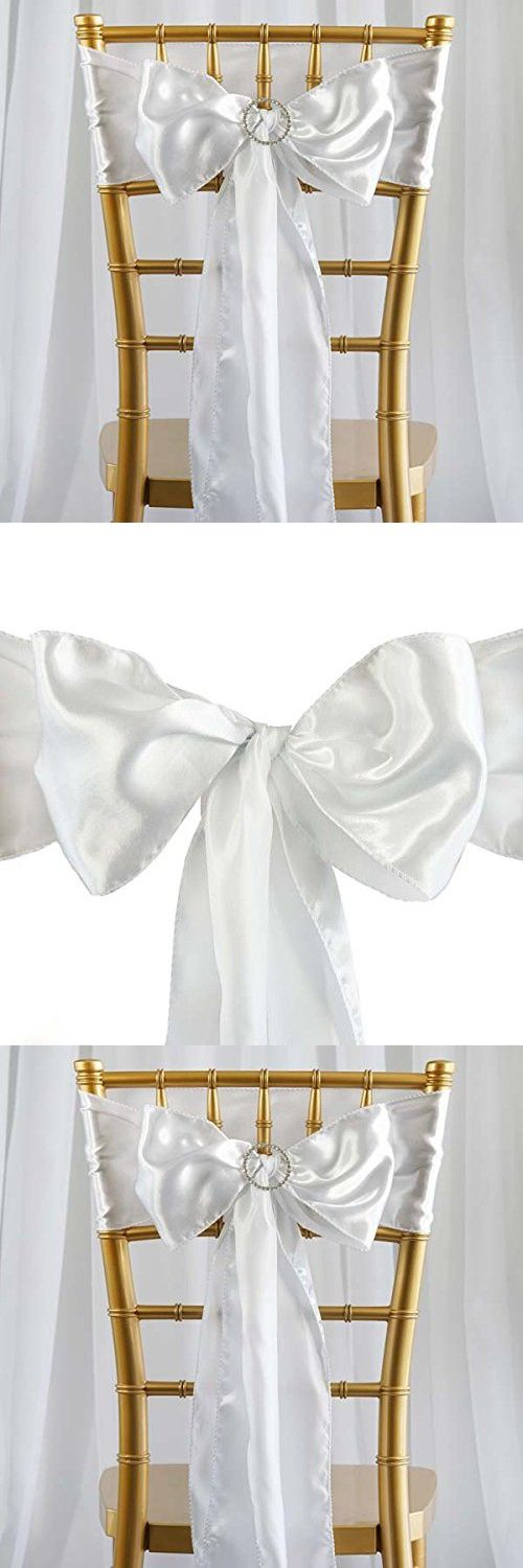 """5pcs White SATIN Chair Sashes Tie Bows Catering Wedding Party Decorations 6 x106"""""""