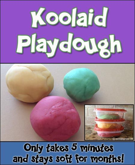 Koolaid Playdough - My families Favorite Homemade Playdough Recipe!!  Only takes a few minutes to make and stays soft for months!!