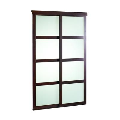 Veranda 48 Inch Espresso Framed Frosted Sliding Door