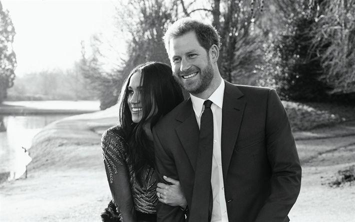 Download wallpapers Prince Harry, Meghan Markle, monochrome photo, photoshoot, portrait, royal family