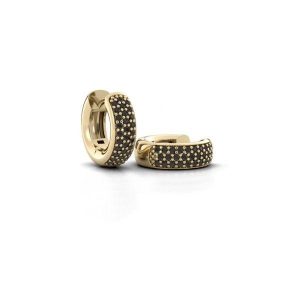 Lana creolen - gemaakt van 14 karaat geelgoud en verrijkt met totaal 0.36 ct zwarte diamanten.