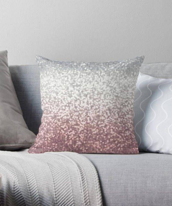 Blush Glitter Pillow Blush Silver Pillow Ombre Printed Glitter Pillow Throw Pillow Decorative Pillow Silver Pillows Glitter Pillows Decorative Pillows