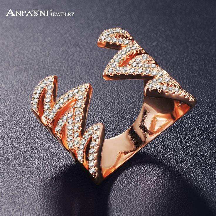Anfasni moda pierścionki zaręczynowe dla kobiet bijoux cri1038 symetria wave rose pozłacane party najlepszy prezent