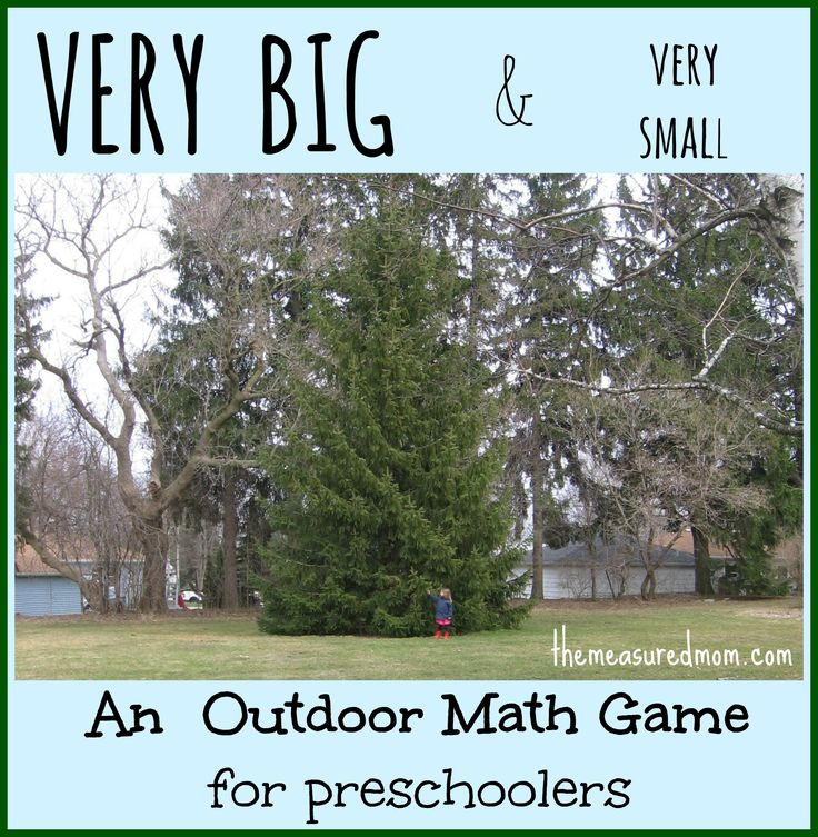 Outdoor Math Game for Preschoolers: Exploring Size (with printable action cards)