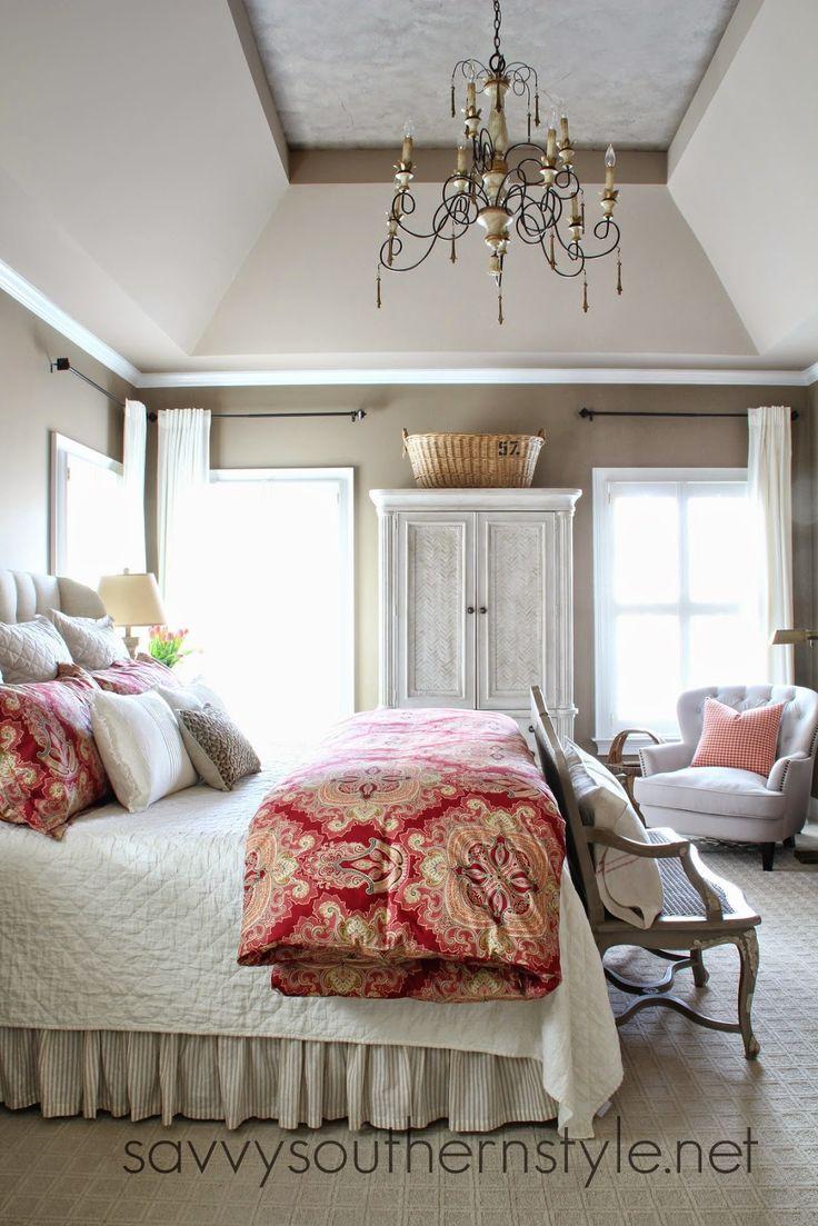 Master bedroom, Pottery Barn bedding, Restoration Hardware vintage linen quilt, French bench, chandelier, tray ceiling, upholstered headboard