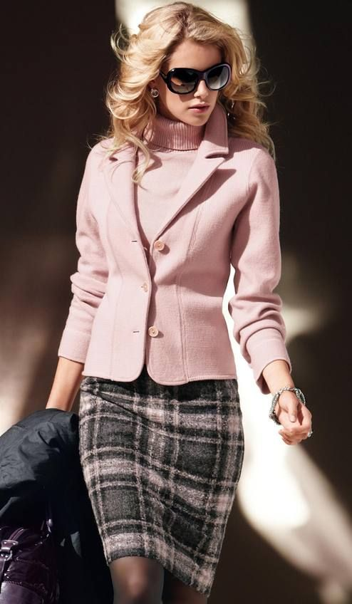 Perfect selection of pink coat high neck sweater with gray skirt-perfect for the office in the winter months! SO TRUE!!