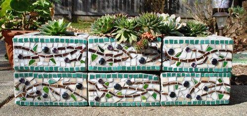 cinder block planters    http://refreshingthehome.com/wp-content/uploads/2013/01/eclectic-landscape.jpg