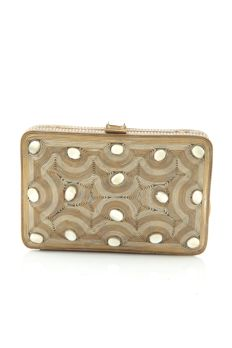 Antique gold clutch embellished with pearls from #Benzer #Benzerworld