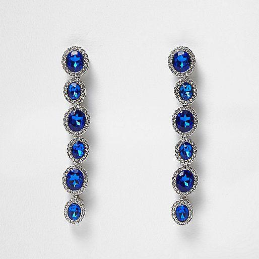 Silver tone blue gem dangly earrings