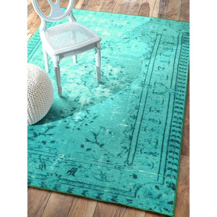 NuLOOM Vintage Inspired Adileh Overdyed Turquoise Rug 4 X 6 By Nuloom