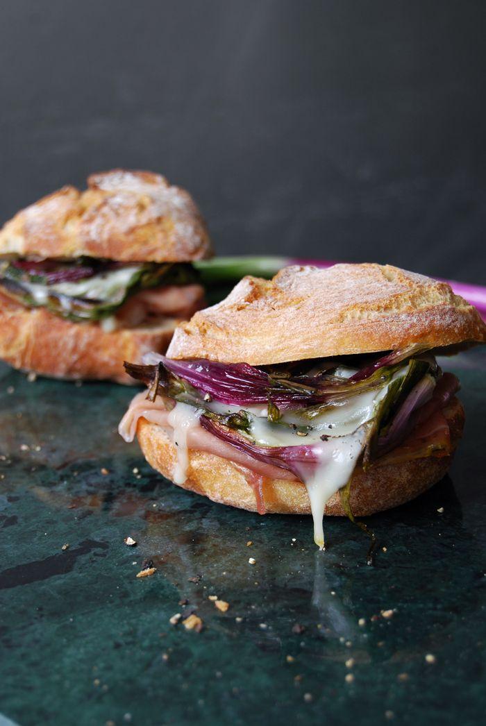 Roasted Spring Onion, Parma Prosciutto and Taleggio Sandwich ° eat in my kitchen