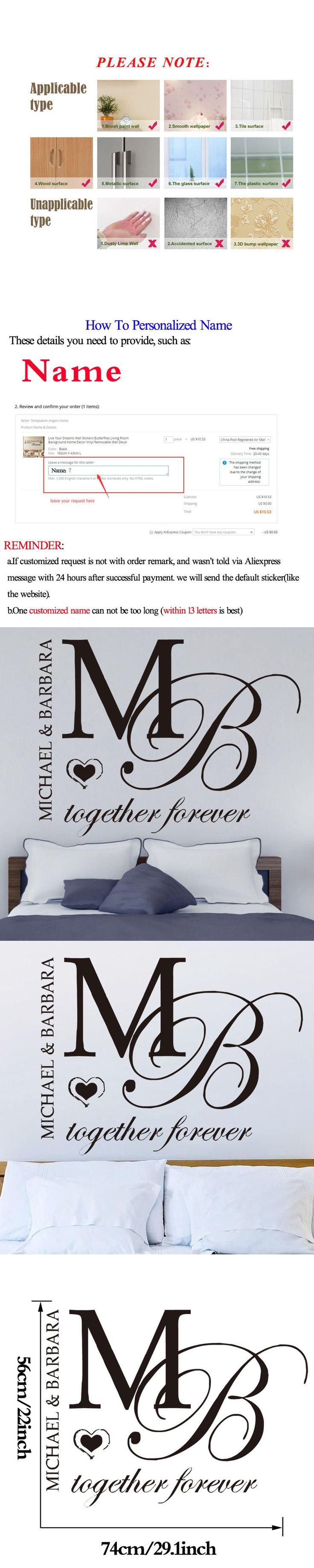 Best 25 name wall decals ideas on pinterest name wall art dctop together forever bedroom decoration diy wall stickers home decor art design removable vinyl customize name amipublicfo Gallery
