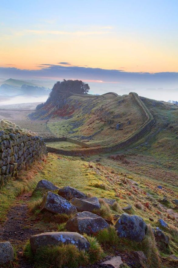 Hadrian's Wall, Northumberland, UK    Hadrian's Wall  Was a defensive fortification in Roman Britain. Begun in 122 AD