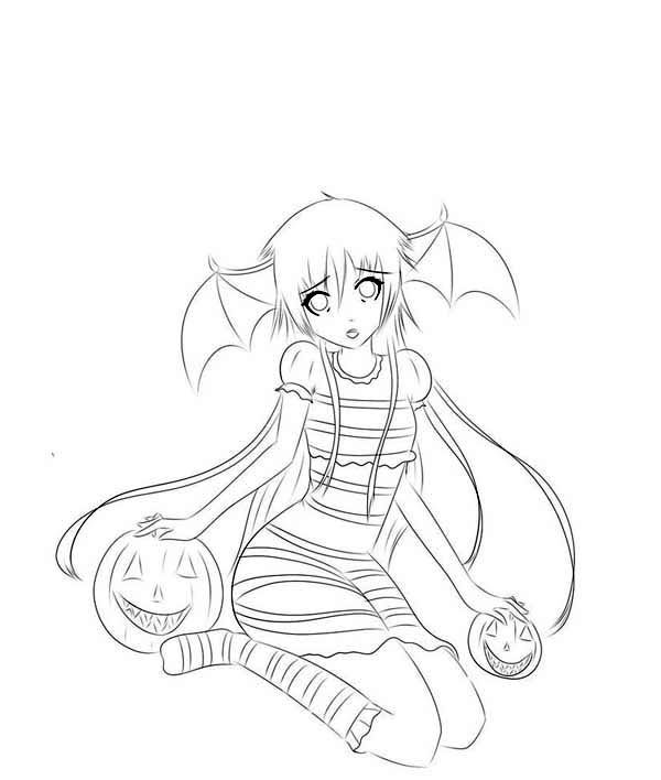 Scary Helloween Anime Girl Coloring Pagejpg 600708
